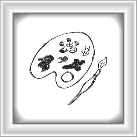 pallette: Simple hand drawn doodle of a paint pallet Illustration