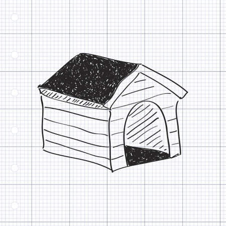 dog kennel: Simple hand drawn doodle of a dog kennel