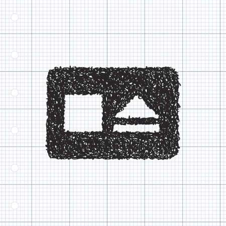 eject: Simple hand drawn doodle of a stop and eject button Illustration