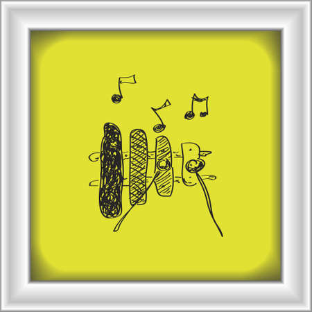 xylophone: Simple hand drawn doodle of a xylophone Illustration