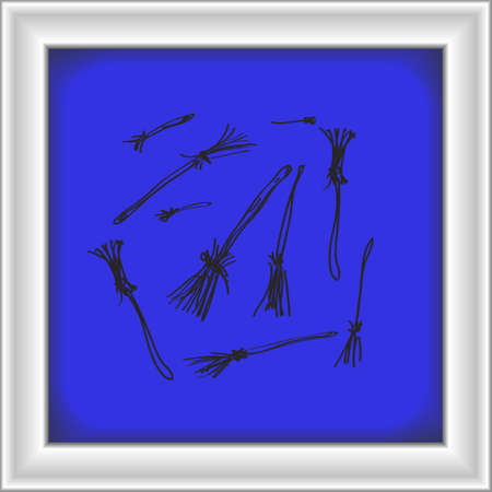 broomsticks: Simple hand drawn doodle of some broomsticks Illustration