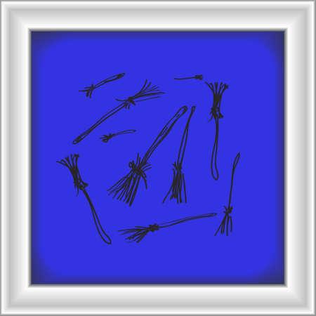 Simple hand drawn doodle of some broomsticks Illustration