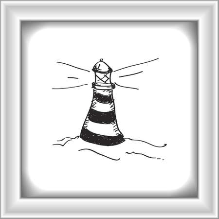 quick drawing: Simple hand drawn doodle of a lighthouse