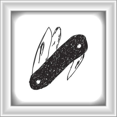 penknife: Simple hand drawn doodle of a penknife