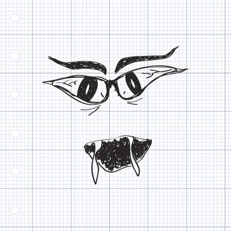 scary eyes: Simple hand drawn doodle of scary eyes