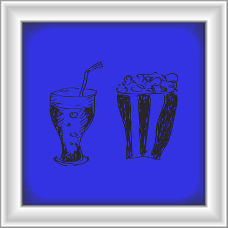 coke: Simple hand drawn doodle of a drink and popcorn Illustration