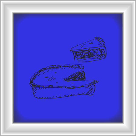baking dish: Simple hand drawn doodle of a pie