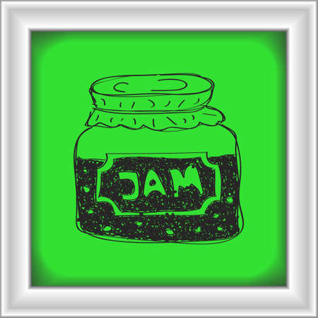 jam jar: Simple hand drawn doodle of a jam jar