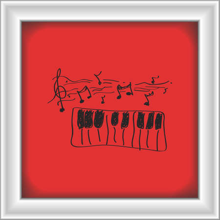 chord: Simple hand drawn doodle of a piano