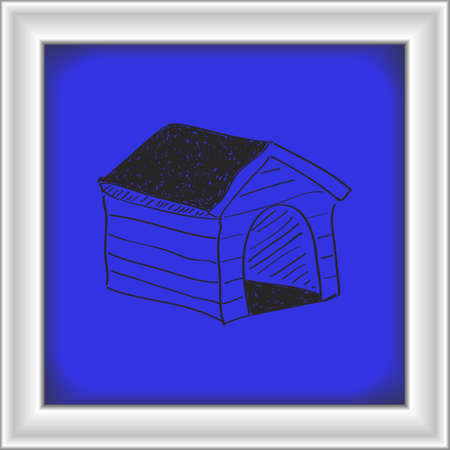 kennel: Simple hand drawn doodle of a dog kennel