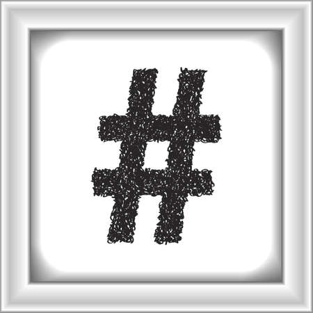 hash: Simple hand drawn doodle of a hash tag