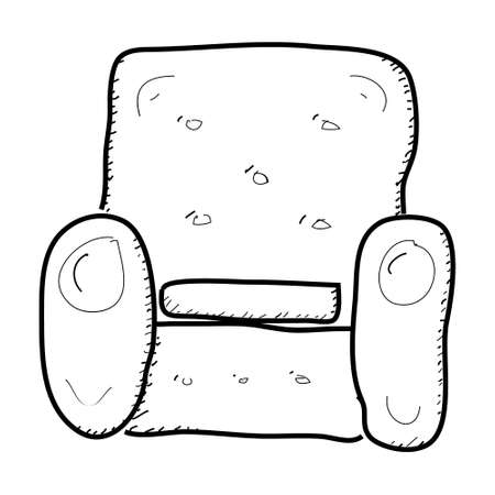 armchair: Simple hand drawn doodle of an armchair