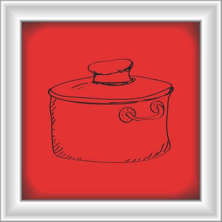 saucepan: Simple hand drawn doodle of a saucepan