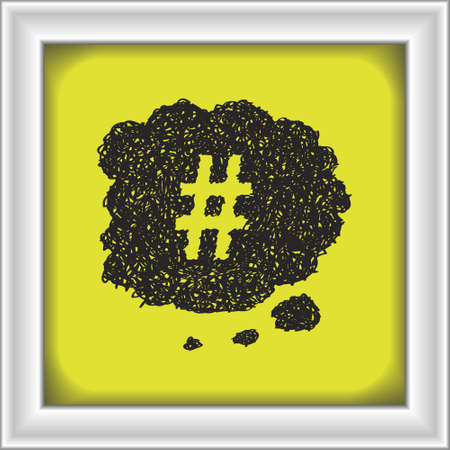 hash: Simple hand drawn doodle of a hash tag thought bubble