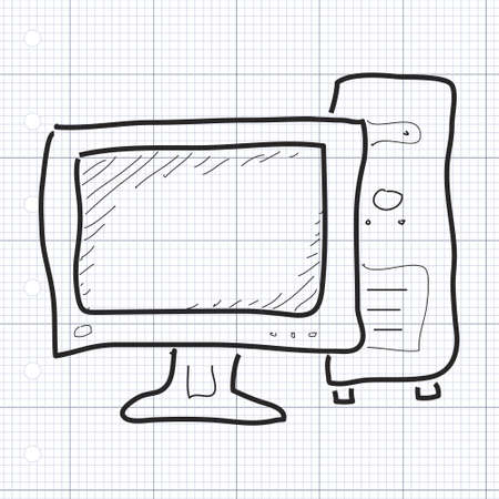 old pc: Simple hand drawn doodle of a computer