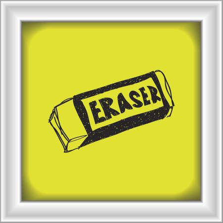 eraser: Simple hand drawn doodle of an eraser