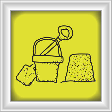 children sandcastle: Simple hand drawn doodle of a bucket and spade