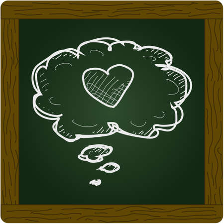 daydreaming: Simple hand drawn doodle of a heart in a thought bubble Illustration