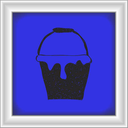 paint bucket: Simple hand drawn doodle of a paint bucket
