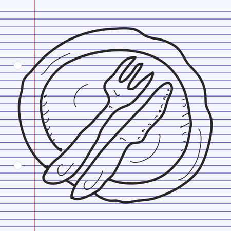silver ware: Simple hand drawn doodle of a dinner plate
