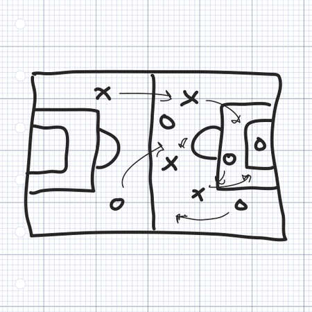 soccer field: Simple hand drawn doodle of a football pitch