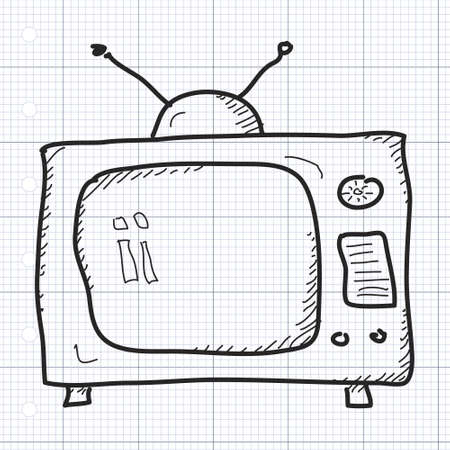 television screen: Simple hand drawn doodle of a television