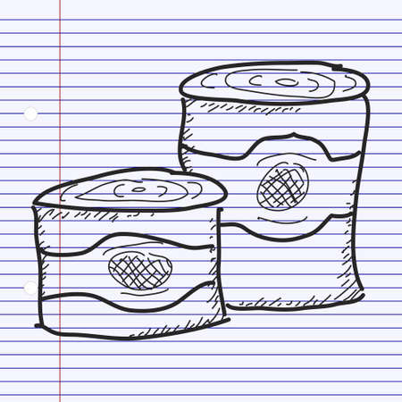 tin cans: Simple hand drawn doodle of some tin cans