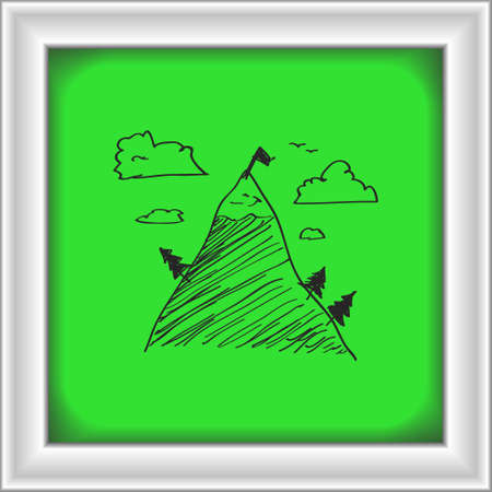 snowy hill: Simple hand drawn doodle of a mountain