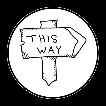 this: Simple hand drawn doodle of a signpost
