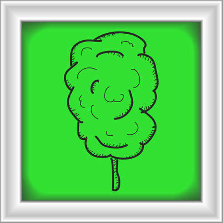 candy floss: Simple hand drawn doodle of a stick of candy floss Illustration