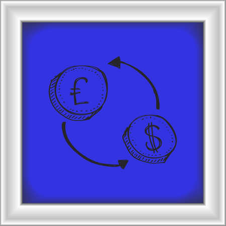 money transfer: Simple hand drawn doodle of a money transfer Illustration
