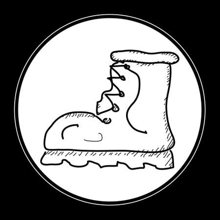 foot soldier: Simple hand drawn doodle of an old boot