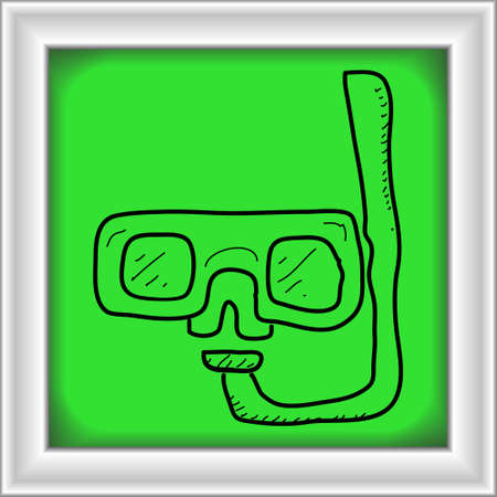 swim goggles: Simple hand drawn doodle of a snorkel Illustration