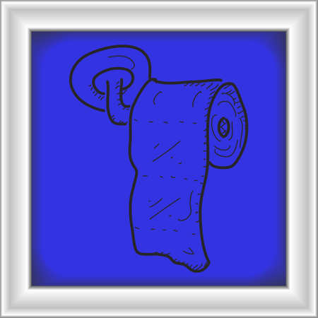loo: Simple hand drawn doodle of a toilet roll