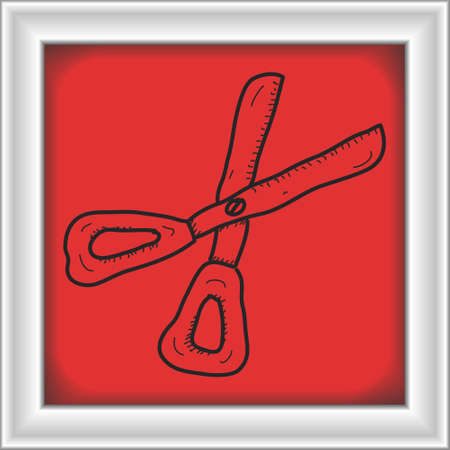 pair of scissors: Simple hand drawn doodle of a pair of scissors Illustration