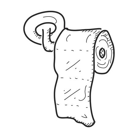 tissue paper art: Simple hand drawn doodle of a toilet roll