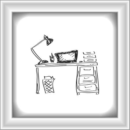 Simple hand drawn doodle of a desk