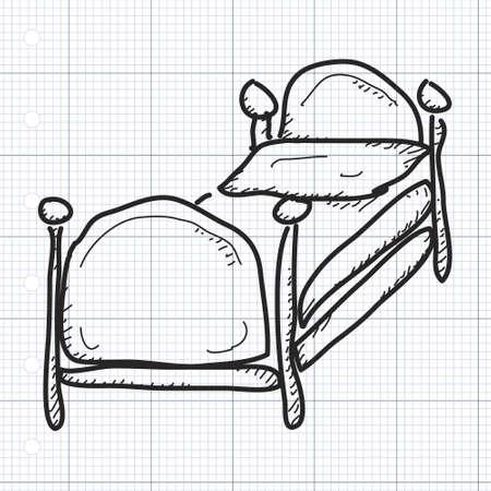 letti: Semplice mano doodle disegnati di un letto