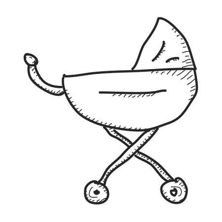 pram: Simple hand drawn doodle of a pram