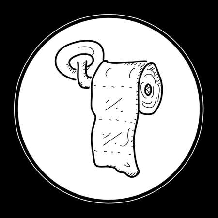 toilet roll: Simple hand drawn doodle of a toilet roll