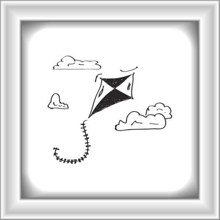 paper kites: Simple hand drawn doodle of a kite