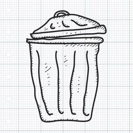rubbish bin: Simple hand drawn doodle of a rubbish bin