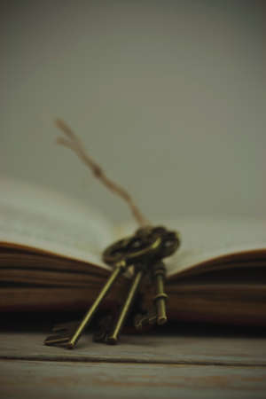 antique keys: Set of old antique keys with book on a wooden background. Vintage filter applied. Stock Photo
