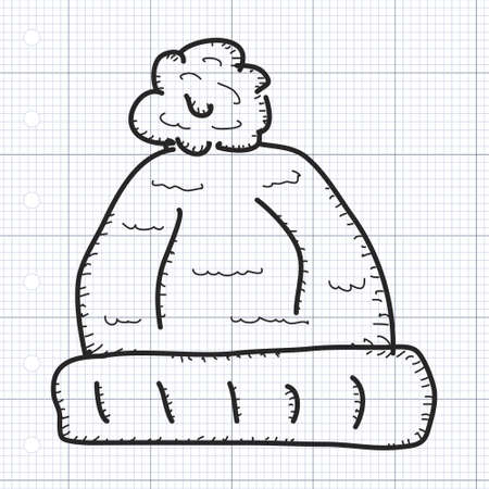 woolly: Simple hand drawn doodle of a woolly hat