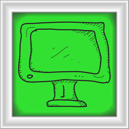 tv screen: Simple hand drawn doodle of a tv screen
