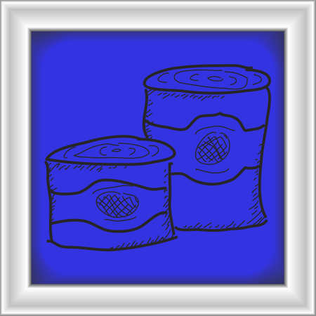 tin: Simple hand drawn doodle of some tin cans