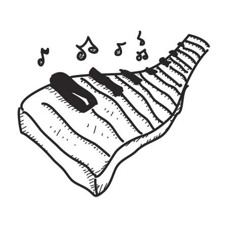 Simple hand drawn doodle of a piano keyboard