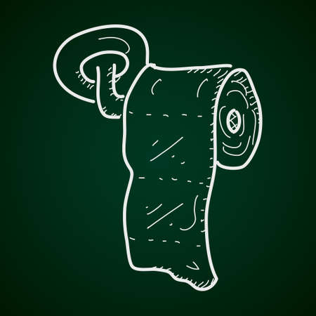 Simple hand drawn doodle of a toilet roll