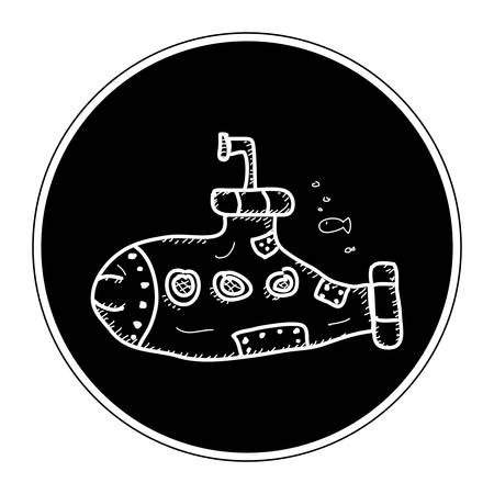 rough sea: Simple hand drawn doodle of a submarine