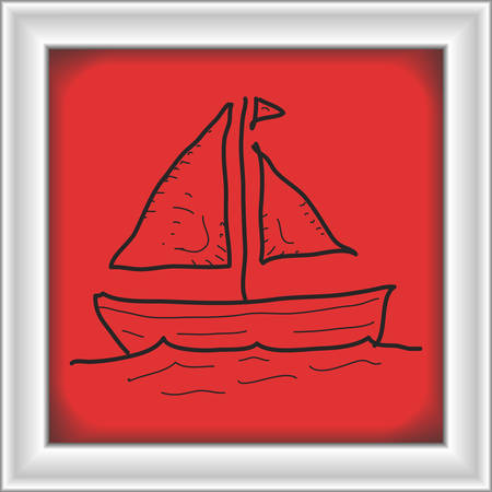 sail boat: Simple hand drawn doodle of a sail boat